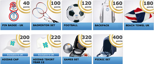 Prizes that can be won with P&G