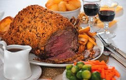 Roast rib of beef with mustard crust