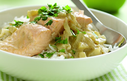 Green Fish Curry with Coconut  Milk & Bramley Apples