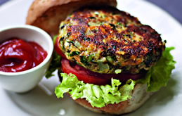 Chickpea, Cheese & Onion Burgers