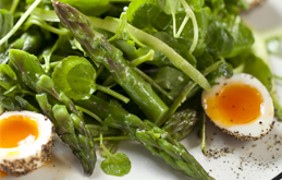 Asparagus with Peppered Soft Boiled Quails' Eggs, Watercress and Wasabi Dressing