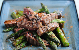 BBQ Rib Eye with Grilled Asparagus & Teriyaki Sauce