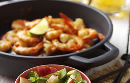 Garlic and Chilli Prawns with Pink Lady, Avocado and Lime Salsa