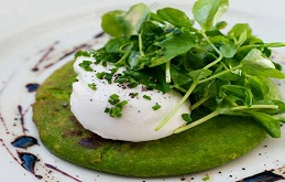 Pea Pancakes and Poached Egg
