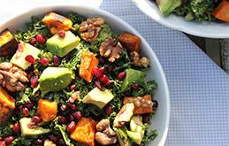 Kale Salad With Caramelised Sweet Potato Maple Roasted