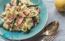 Big Fish Minted Salmon, Mascarpone & Asparagus Pappardelle