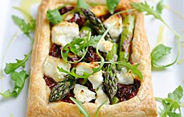 Asparagus Pastry Tartlets with Goat's Cheese