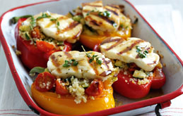 Grilled Halloumi Peppers with Honey