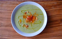 Courgette Soup with Paprika and Toasted Almonds