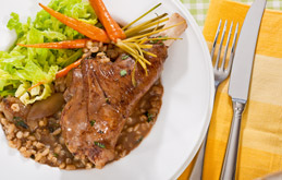 Lamb Shanks with Mint & Balsamic Pearl Barley