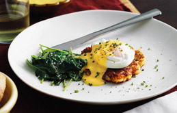 Bacon Rosti with Poached Eggs and Thyme Hollandaise