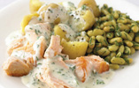 Salmon with New Potatoes, Flageolet Beans, and Parsley Sauce