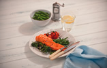 Salmon with Steamed Beans and Broccoli with Mustard Dressing