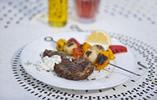 Lemon and Thyme Lamb Steaks with Pepper and Potato Skewers