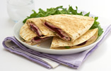 Beetroot, goat's cheese and mint quesadillas