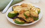 Chargrilled halloumi, aubergine and courgettes with tomato vinaigrette