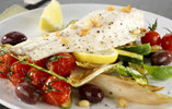 Roast Sea Bass with Baby Courgettes