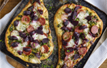 Naan Bread Pizza with Sweetfire Beetroot, Pepperoni and Mozzarella