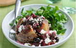 Baked Potato filled with Beetroot, Feta and Mint Salad