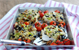 Roasted Cod Topped with Celery, Walnut and Black Olive Stuffing with Roasted Cherry Tomatoes