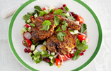 Sizzled masala lamb with chopped salad