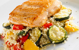 Salmon with Roasted Vegetables and Couscous