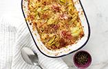 Mac and cheese with leek and ham hock