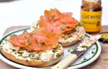 Smoked Salmon Bagel with Spicy Cream Cheese
