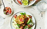 Madeleine Shaw's Sweetcorn Fritters with Tomato Salsa & Avocado