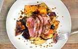 Glazed Duck Breast with Roasted Root Vegetables