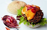 Red Leicester Burgers with Tomato and Onion Relish