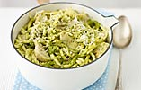 Trofie with Basil Pesto, Marscarpone and Artichokes