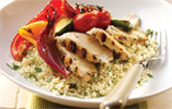 Barbecue Arbeque Chicken with Coriander Couscous and Elderflower Roasted Vegetables