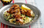 Saffron and Honey Glazed Chicken Skewers