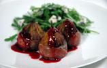 Parma Ham Wrapped Figs with Raspberry Dressing and a Dolcelatte and Rocket Salad