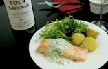 Poached Salmon with Watercress Mayo