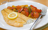 Paprika Dusted Seabass with Peppers and Tomatoes