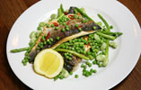 Pan Fried Seabass and Seasonal Vegetables