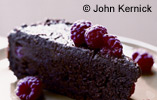 Gooey Chocolate Cake with Raspberries