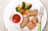 Crunchy Seeded Salmon with Chinese Broccoli