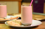 Dairy Free Raspberry Soya Shake with Hazelnut Biscuits