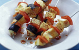 Halloumi, Red Pepper and Aubergine Kebabs