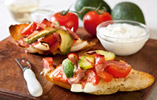 Avocado and Vine Tomato Bruschetta with Sour Cream & Chive Dip