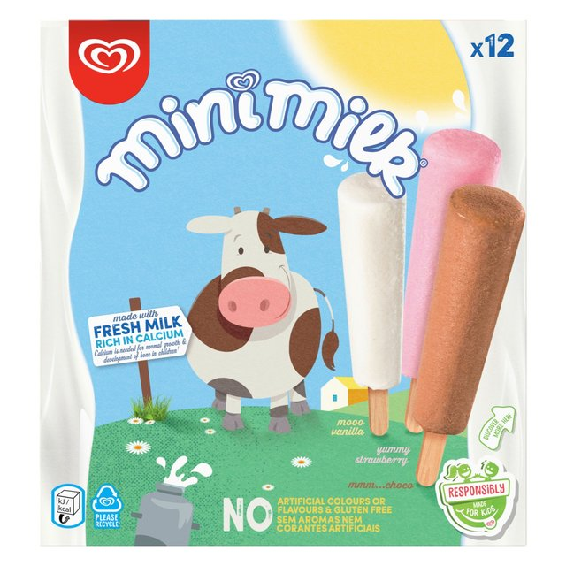 Mini Milk Vanilla, Strawberry & Chocolate Ice Cream Lolly | Ocado