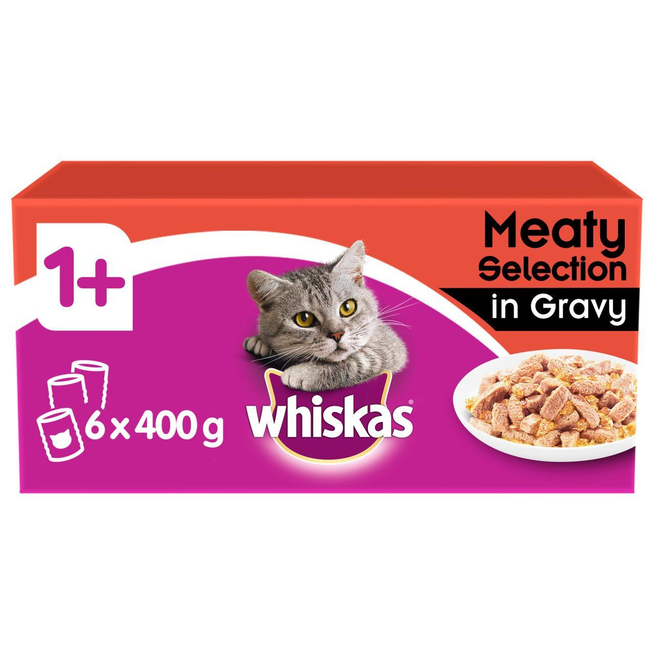 An image of Whiskas Cat Tins Meat in Gravy