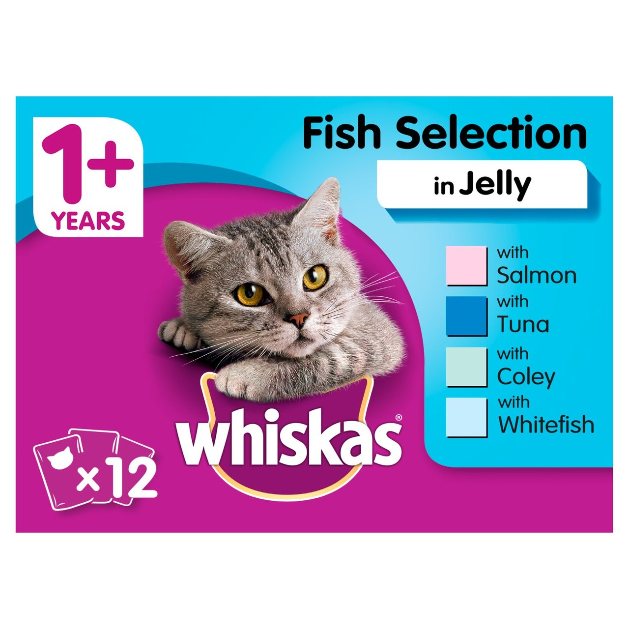 An image of Whiskas 1+ Cat Pouches Fish in Jelly