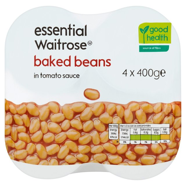 Ocado: Baked Beans in Tomato Sauce essential Waitrose 4 x 400g(Product ...