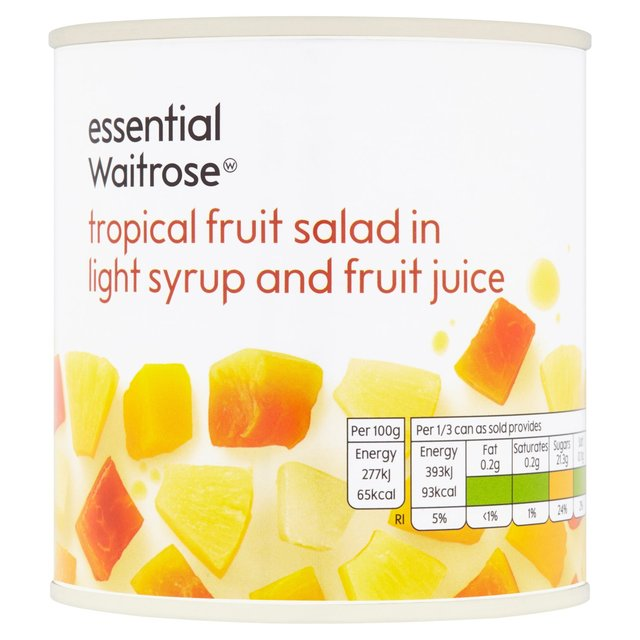 Essential Waitrose Tropical Fruit Salad in Light Syrup & Juice 425g ...
