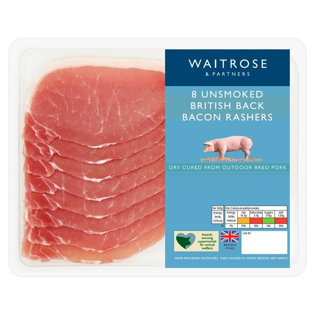 Waitrose 8 Unsmoked Dry Cured Back Bacon Rashers