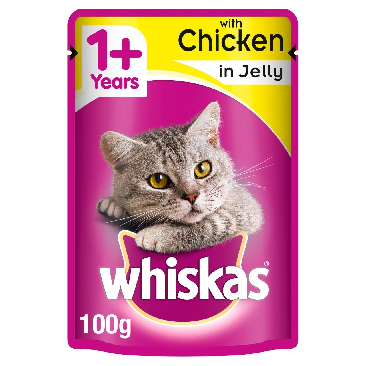 An image of Whiskas 1+ Cat Pouch Chicken in Jelly